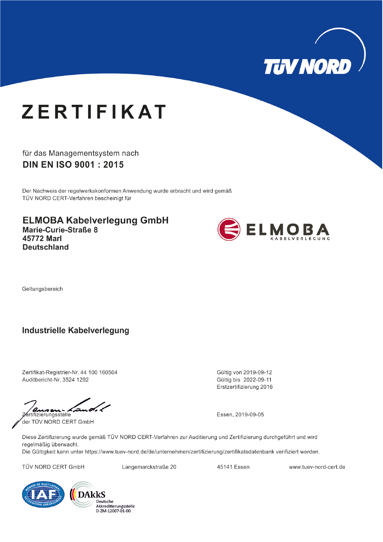 Zertifikat - Elmoba Kabelverlegung GmbH in Marl und Chur